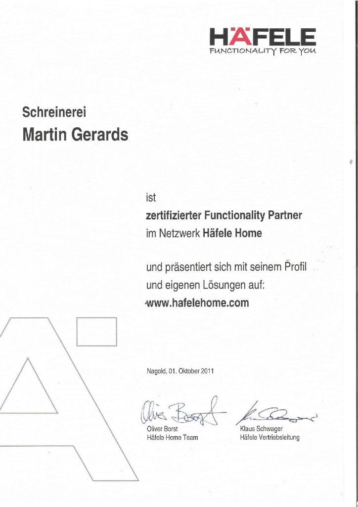 Schreinerei-Gerards-Häfele Zertifikat