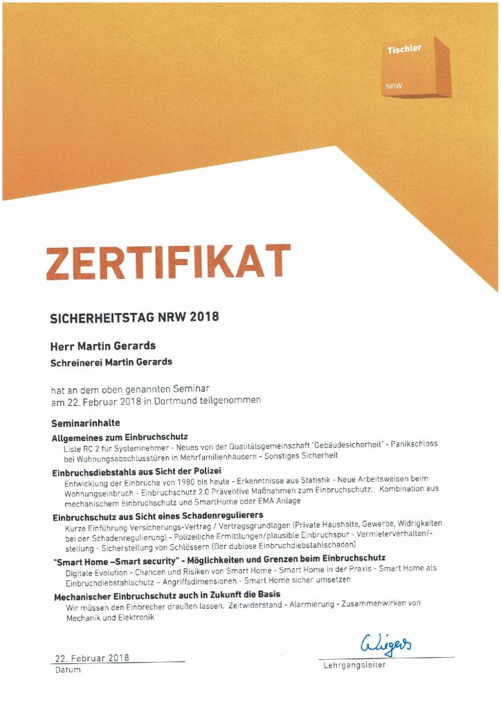 Schreinerei-Gerards-Zertifikat-Sicherheitstag NRW
