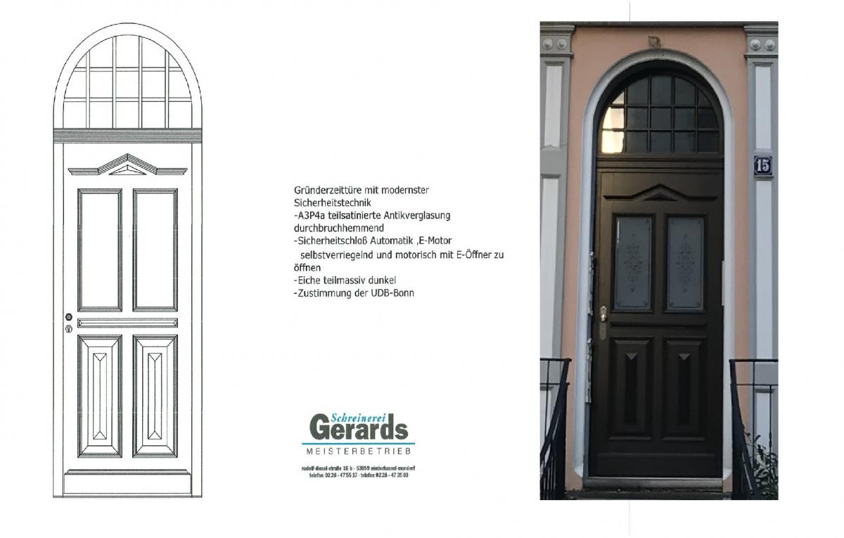 Gründerzeittür mit moderner Sicherheitstechnik-selbstverriegelnd-drückerbetätigt-Haustür-Schreinerei Gerards
