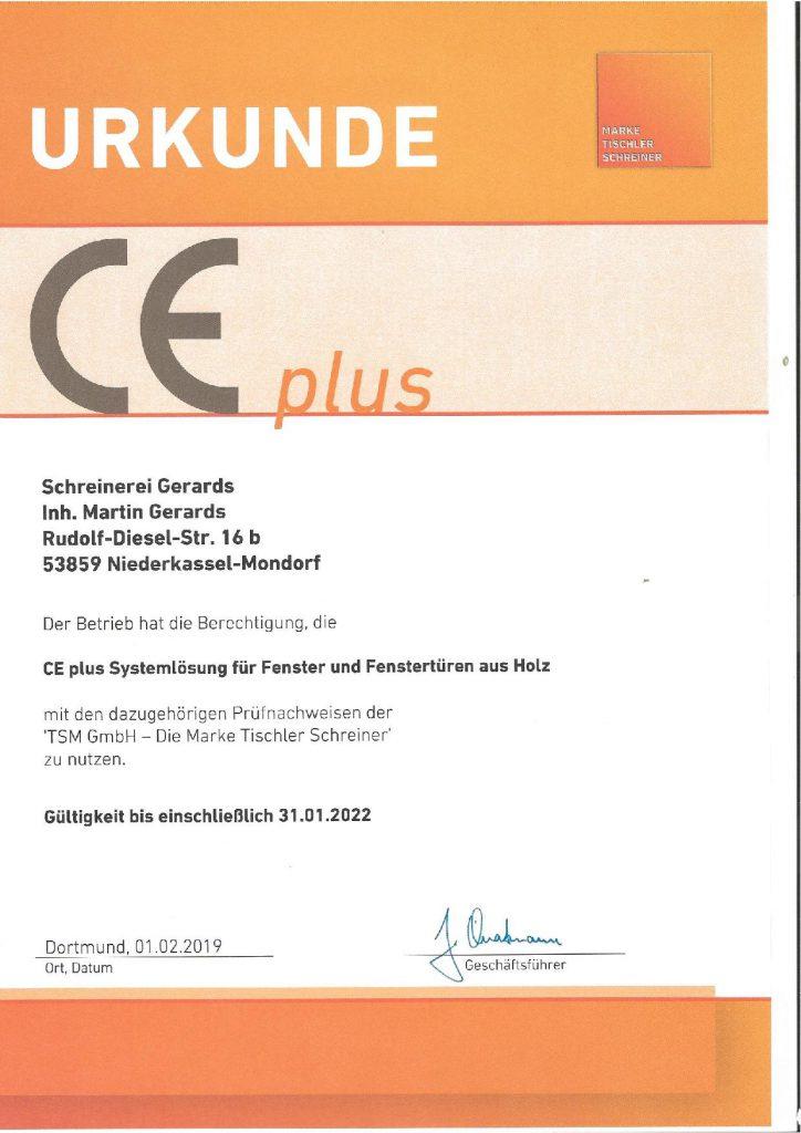 Zertifikat 01.19-Schreinerei Gerards