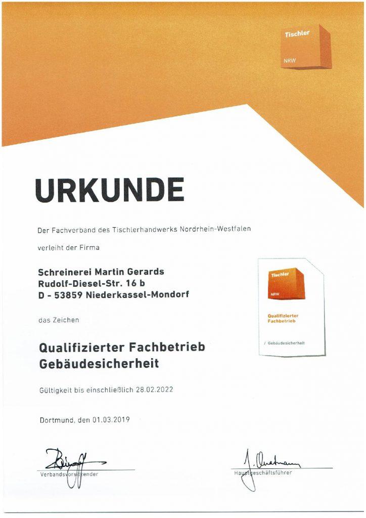 Gebäudesicherheit 2019-Zertifikat-Schreinerei Gerards
