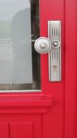 Haustür-rot-Türbeschlag-Schreinerei Gerards-Schreiner in Bonn-Schreiner Köln-Schreiner Niederkassel